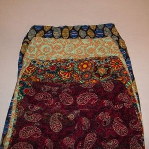 Women's Leggings One Size 4 Pair Colorful Designs
